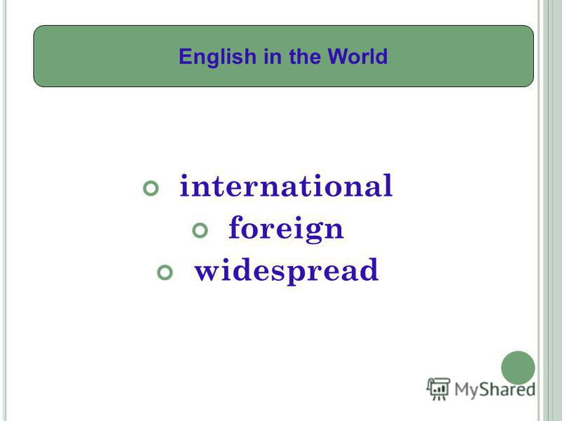 international foreign widespread English in the World