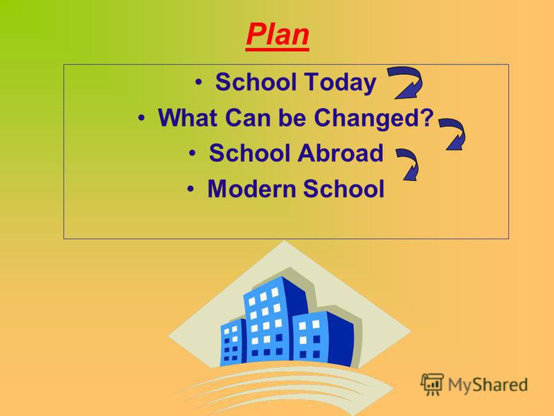 Plan School Today What Can be Changed? School Abroad Modern School