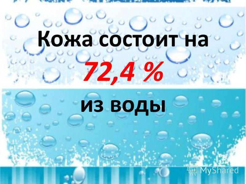 Кожа состоит на 72,4 % из воды