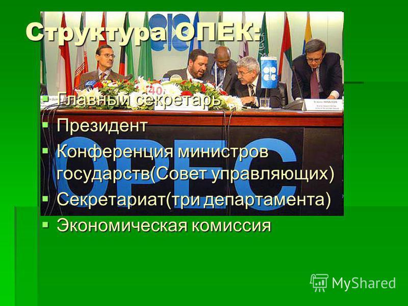 Структура ОПЕК: Главный секретарь Главный секретарь Президент Президент Конференция министров государств(Совет управляющих) Конференция министров государств(Совет управляющих) Секретариат(три департамента) Секретариат(три департамента) Экономическая