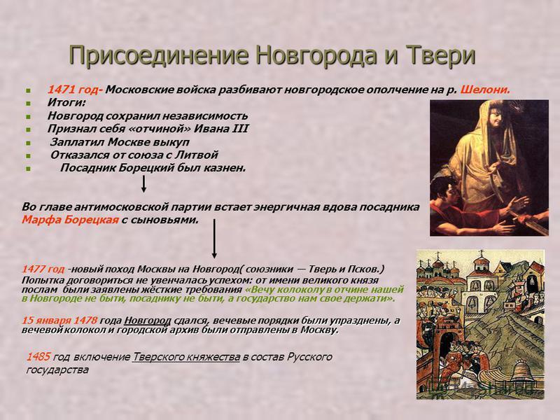 Присоединение Новгорода и Твери 1471 год- Московские войска разбивают новгородское ополчение на р. Шелони. Итоги: Новгород сохранил независимость Признал себя «отчиной» Ивана III Заплатил Москве выкуп Отказался от союза с Литвой Посадник Борецкий был