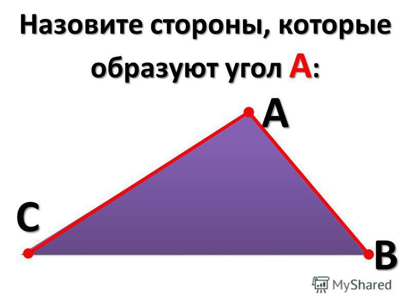 Назовите стороны, которые образуют угол A : CAB