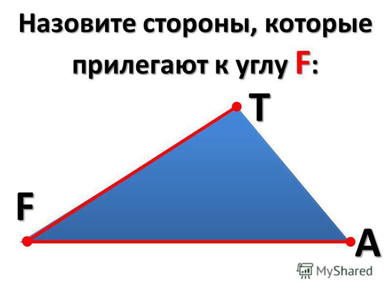 Назовите стороны, которые прилегают к углу F : FTA