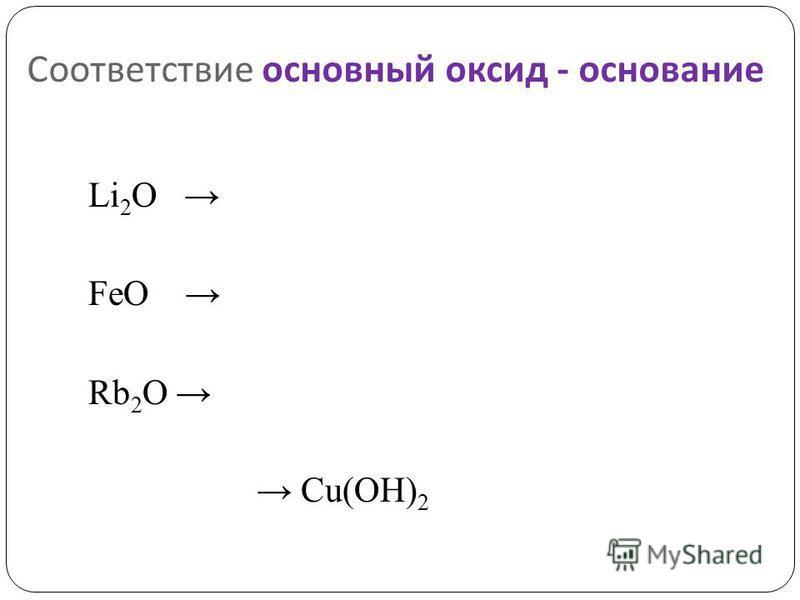 Соответствие основный оксид - основание Li 2 O FeO Rb 2 O Cu(OH) 2