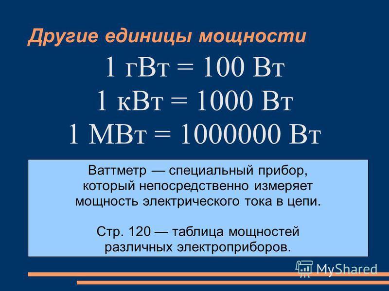 Другие единицы мощности 1 г Вт = 100 Вт 1 к Вт = 1000 Вт 1 МВт = 1000000 Вт Ваттметр специальный прибор, который непосредственно измеряет мощность электрического тока в цепи. Стр. 120 таблица мощностей различных электроприборов.