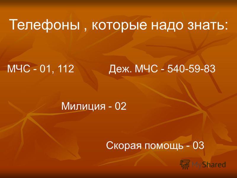 Телефоны, которые надо знать: МЧС - 01, 112 Деж. МЧС - 540-59-83 Милиция - 02 Скорая помощь - 03