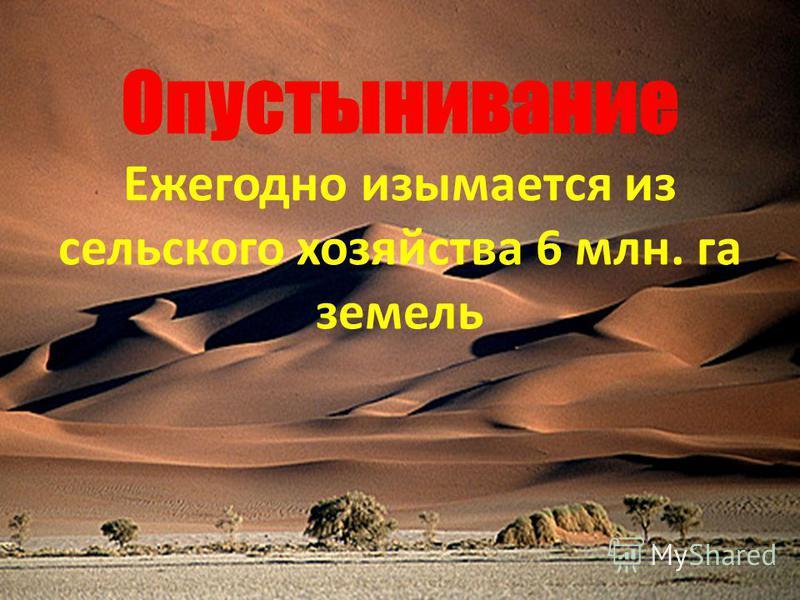 Опустынивание Ежегодно изымается из сельского хозяйства 6 млн. га земель