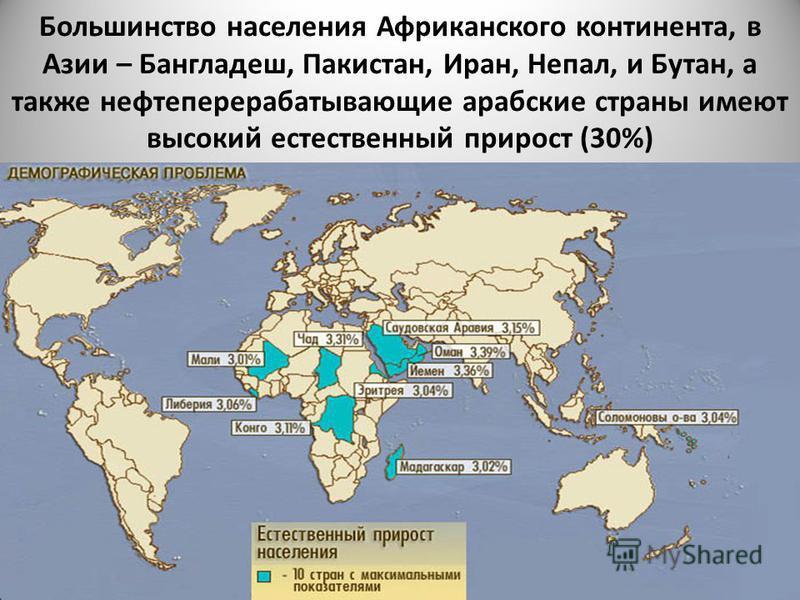Большинство населения Африканского континента, в Азии – Бангладеш, Пакистан, Иран, Непал, и Бутан, а также нефтеперерабатывающие арабские страны имеют высокий естественный прирост (30%)
