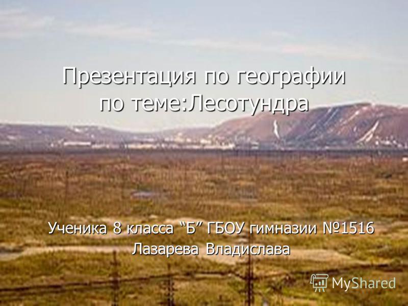 Презентация по географии по теме:Лесотундра Ученика 8 класса Б ГБОУ гимназии 1516 Лазарева Владислава