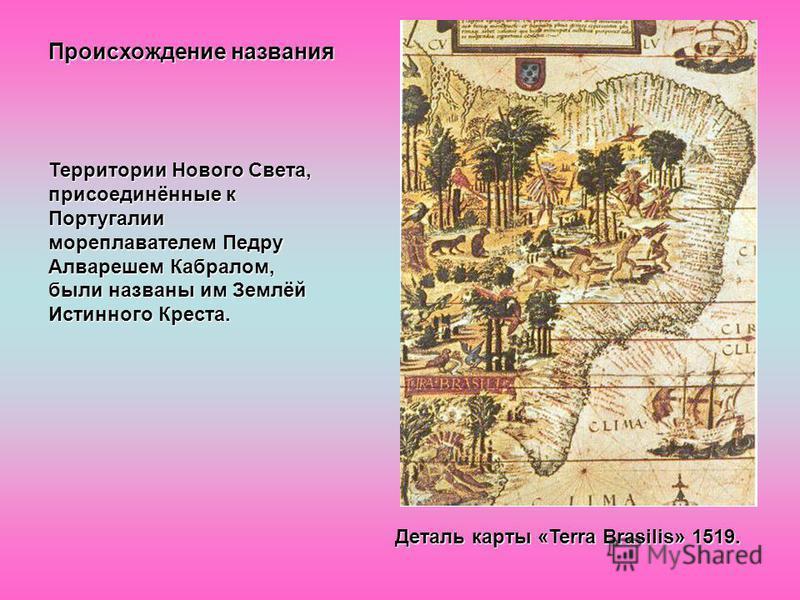 Происхождение названия Территории Нового Света, присоединённые к Португалии мореплавателем Педру Алварешем Кабралом, были названы им Землёй Истинного Креста. Деталь карты «Terra Brasilis» 1519.