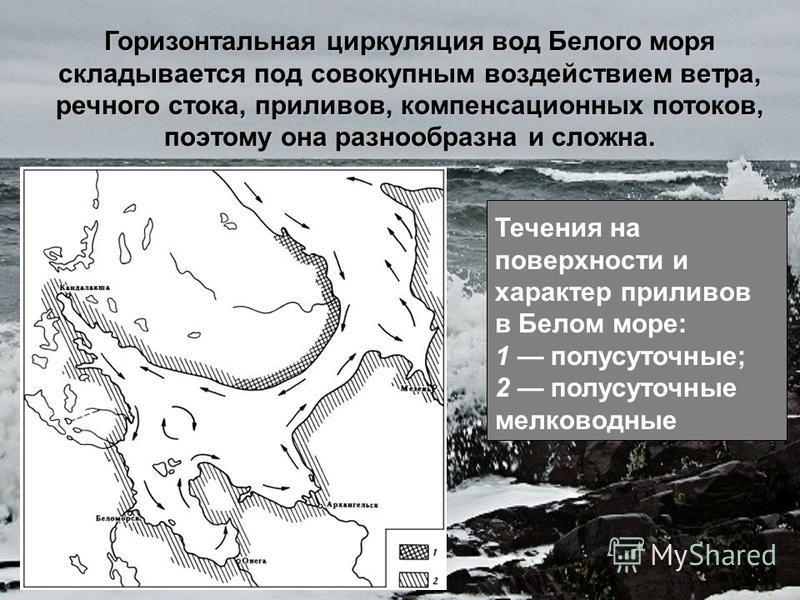 Горизонтальная циркуляция вод Белого моря складывается под совокупным воздействием ветра, речного стока, приливов, компенсационных потоков, поэтому она разнообразна и сложна. Течения на поверхности и характер приливов в Белом море: 1 полусуточные; 2