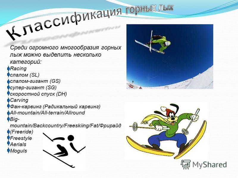 Среди огромного многообразия горных лыж можно выделить несколько категорий: Racing слалом (SL) слалом-гигант (GS) супер-гигант (SG) скоростной спуск (DH) Carving Фан-карвинг (Радикальный карвинг) All-mountain/All-terrain/Allround Big- mountain/Backco