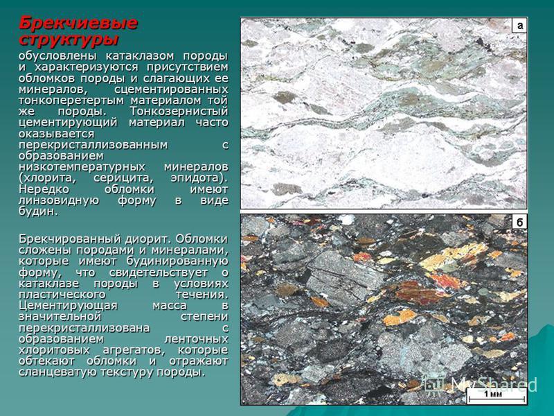 Брекчиевые структуры обусловлены катаклазом породы и характеризуются присутствием обломков породы и слагающих ее минералов, сцементированных тонкоперетертым материалом той же породы. Тонкозернистый цементирующий материал часто оказывается перекристал