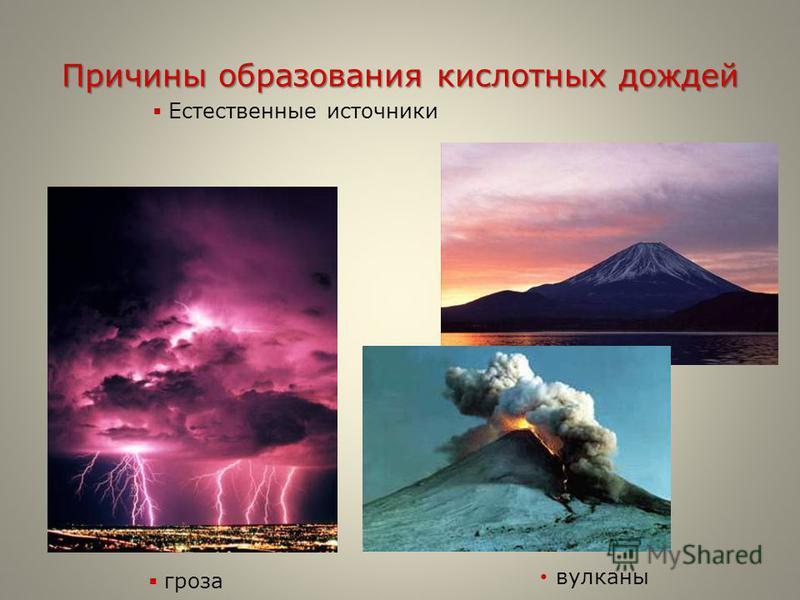 Причины образования кислотных дождей вулканы Естественные источники гроза