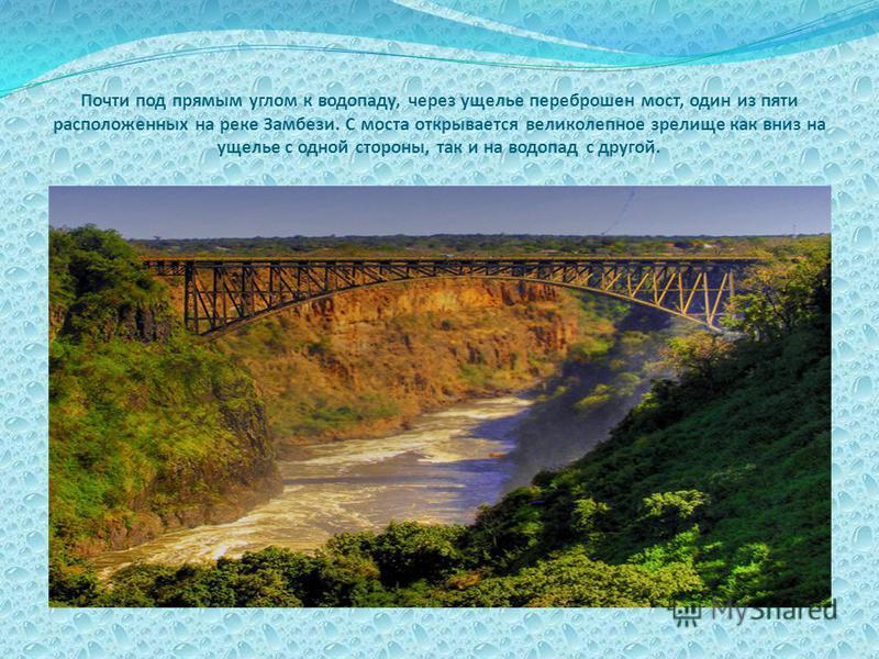 Почти под прямым углом к водопаду, через ущелье переброшен мост, один из пяти расположенных на реке Замбези. С моста открывается великолепное зрелище как вниз на ущелье с одной стороны, так и на водопад с другой.