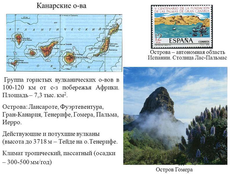 Группа гористых вулканических о-вов в 100-120 км от с-з побережья Африки. Площадь – 7,3 тыс. км 2. Острова: Лансароте, Фуэртевентура, Гран-Канария, Тенерифе, Гомера, Пальма, Иерро. Действующие и потухшие вулканы (высота до 3718 м – Тейде на о.Тенериф