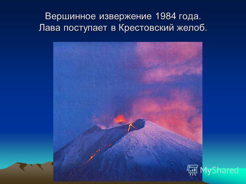 Вершинное извержение 1984 года. Лава поступает в Крестовский желоб.