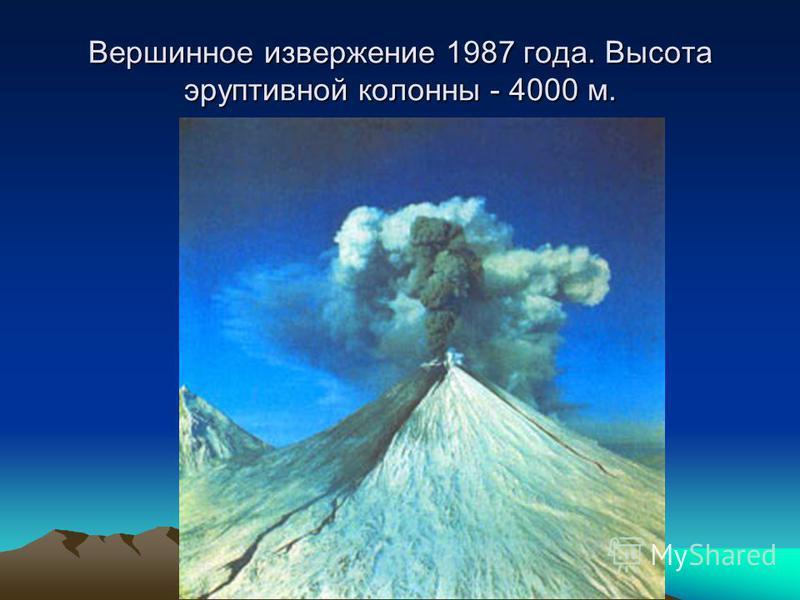 Вершинное извержение 1987 года. Высота эруптивной колонны - 4000 м.