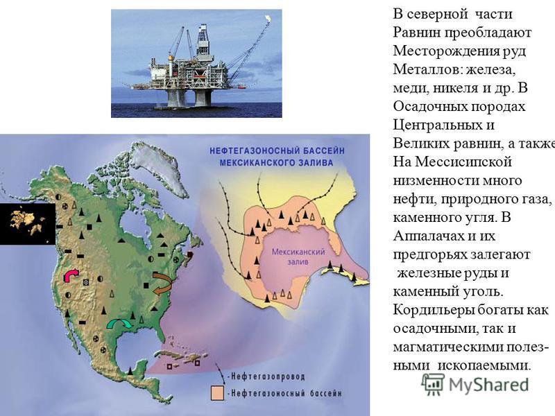 В северной части Равнин преобладают Месторождения руд Металлов: железа, меди, никеля и др. В Осадочных породах Центральных и Великих равнин, а также На Мессисипской низменности много нефти, природного газа, каменного угля. В Аппалачах и их предгорьях