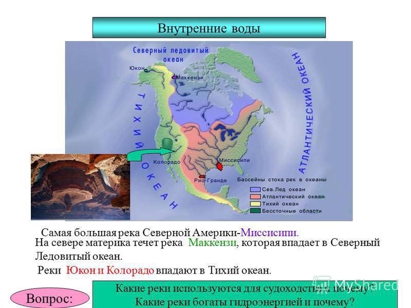 Внутренние воды Самая большая река Северной Америки-Миссисипи. На севере материка течет река Маккензи, которая впадает в Северный Ледовитый океан. Реки Юкон и Колорадо впадают в Тихий океан. Вопрос: Какие реки используются для судоходства и почему? К