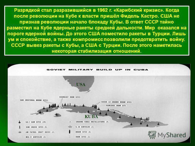 Разрядкой стал разразившийся в 1962 г. «Карибский кризис». Когда после революции на Кубе к власти пришёл Фидель Кастро. США не признав революции начало блокаду Кубы. В ответ СССР тайно разместил на Кубе ядерные ракеты средней дальности. Мир оказался