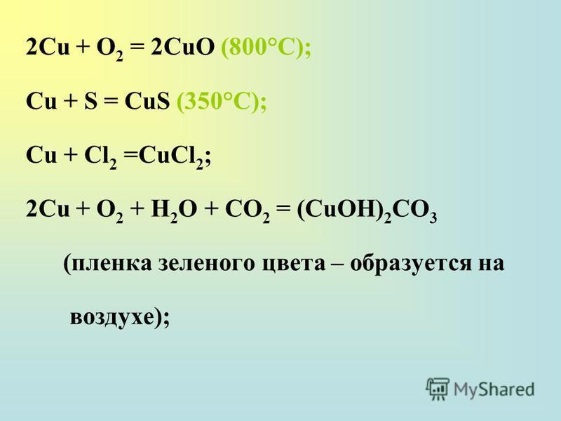 2Сu + О 2 = 2СuО (800°С); Сu + S = CuS (350°C); Сu + Сl 2 =СuСl 2 ; 2Сu + О 2 + H 2 О + СО 2 = (СuОН) 2 СО 3 (пленка зеленого цвета – образуется на воздухе);