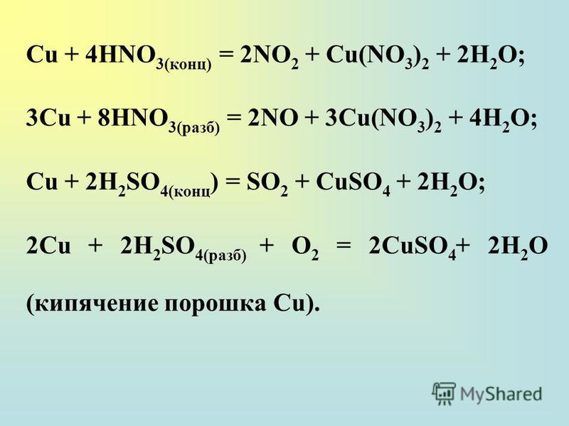 Сu + 4НNО 3(конц) = 2NO 2 + Cu(NO 3 ) 2 + 2Н 2 О; 3Сu + 8НNО 3(разб) = 2NO + 3Cu(NO 3 ) 2 + 4Н 2 О; Сu + 2H 2 SO 4(конц ) = SO 2 + CuSO 4 + 2H 2 О; 2Сu + 2H 2 SO 4(paзб) + О 2 = 2CuSO 4 + 2H 2 O (кипячение порошка Сu).