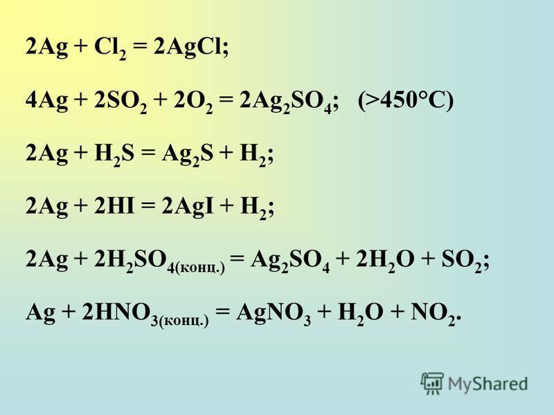 2Ag + Cl 2 = 2AgCl; 4Ag + 2SO 2 + 2O 2 = 2Ag 2 SO 4 ;(>450°C) 2Ag + H 2 S = Ag 2 S + H 2 ; 2Ag + 2HI = 2AgI + H 2 ; 2Ag + 2H 2 SO 4 (конц.) = Ag 2 SO 4 + 2H 2 O + SO 2 ; Ag + 2НNO 3( конц.) = AgNO 3 + H 2 O + NO 2.