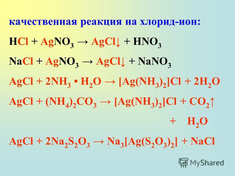качественная реакция на хлорид-ион: HCl + AgNO 3 AgCl + HNO 3 NaCl + AgNO 3 AgCl + NaNO 3 AgCl + 2NH 3 H 2 O [Ag(NH 3 ) 2 ]Cl + 2H 2 O AgCl + (NH 4 ) 2 СO 3 [Ag(NH 3 ) 2 ]Cl + СO 2 + H 2 O AgCl + 2Na 2 S 2 O 3 Na 3 [Ag(S 2 O 3 ) 2 ] + NaCl