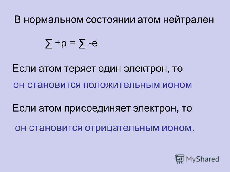 В нормальном состоянии атом нейтрален +p = -e Если атом теряет один электрон, то он становится положительным ионом Если атом присоединяет электрон, то он становится отрицательным ионом.