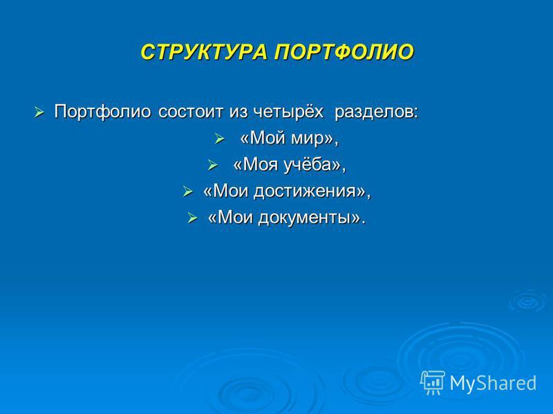 СТРУКТУРА ПОРТФОЛИО Портфолио состоит из четырёх разделов: Портфолио состоит из четырёх разделов: «Мой мир», «Мой мир», «Моя учёба», «Моя учёба», «Мои достижения», «Мои достижения», «Мои документы». «Мои документы».