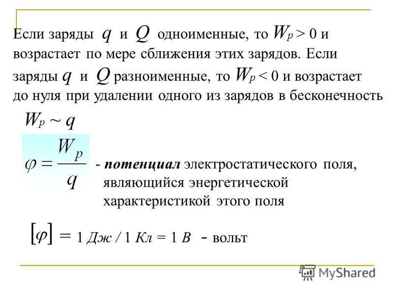 Если заряды q и Q одноименные, то W p > 0 и возрастает по мере сближения этих зарядов. Если заряды q и Q разноименные, то W p < 0 и возрастает до нуля при удалении одного из зарядов в бесконечность Wp ~ qWp ~ q - потенциал электростатического поля, я