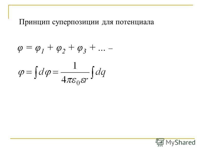 φ = φ 1 + φ 2 + φ 3 +... – Принцип суперпозиции для потенциала