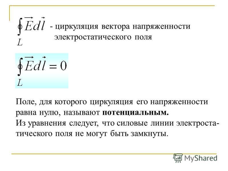 - циркуляция вектора напряженности электростатического поля Поле, для которого циркуляция его напряженности равна нулю, называют потенциальным. Из уравнения следует, что силовые линии электростатического поля не могут быть замкнуты.