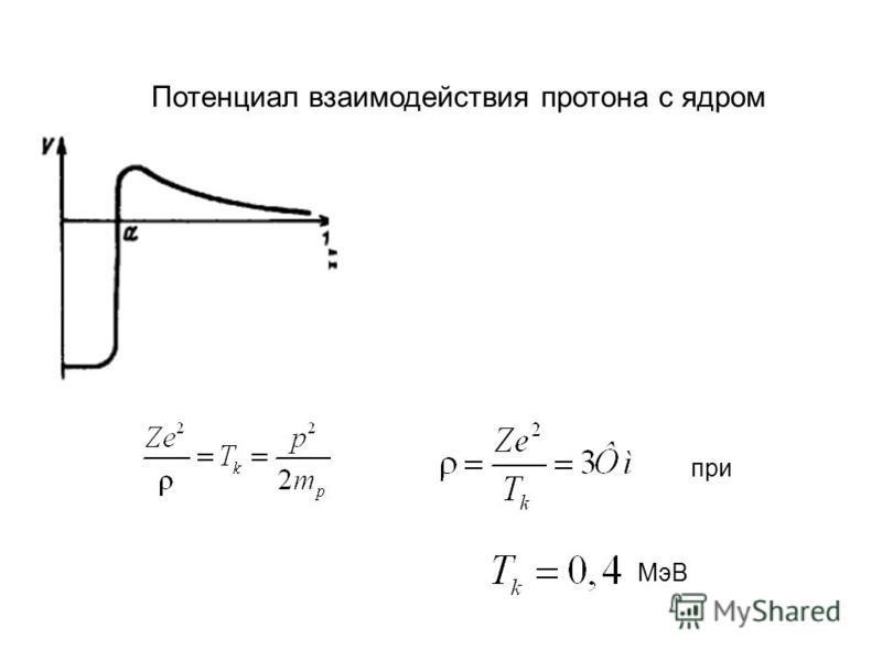 Потенциал взаимодействия протона с ядром при МэВ