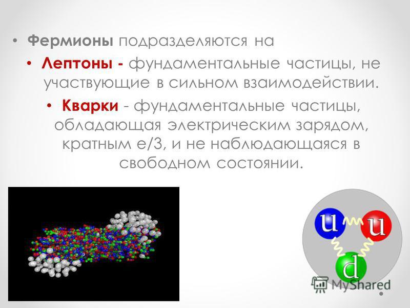Фермионы подразделяются на Лептоны - фундаментальные частицы, не участвующие в сильном взаимодействии. Кварки - фундаментальные частицы, обладающая электрическим зарядом, кратным е/3, и не наблюдающаяся в свободном состоянии.