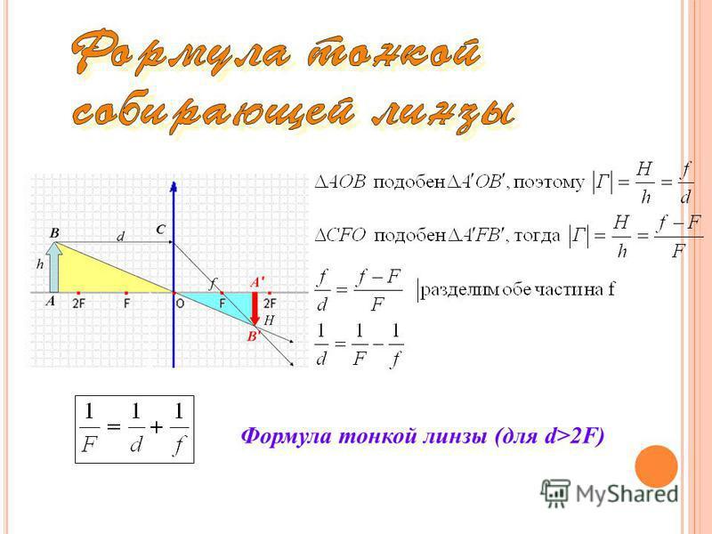 С Формула тонкой линзы (для d>2F)