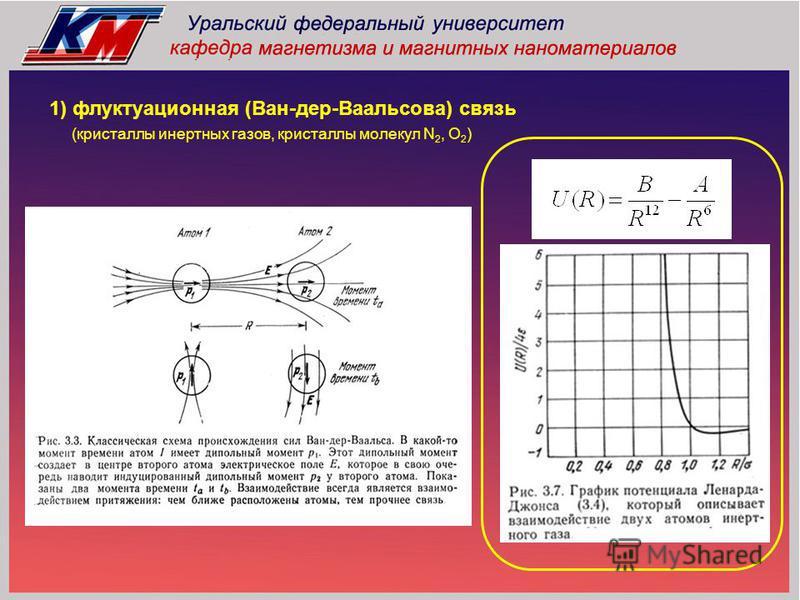 1) флуктуационная (Ван-дер-Ваальсова) связь (кристаллы инертных газов, кристаллы молекул N 2, O 2 )
