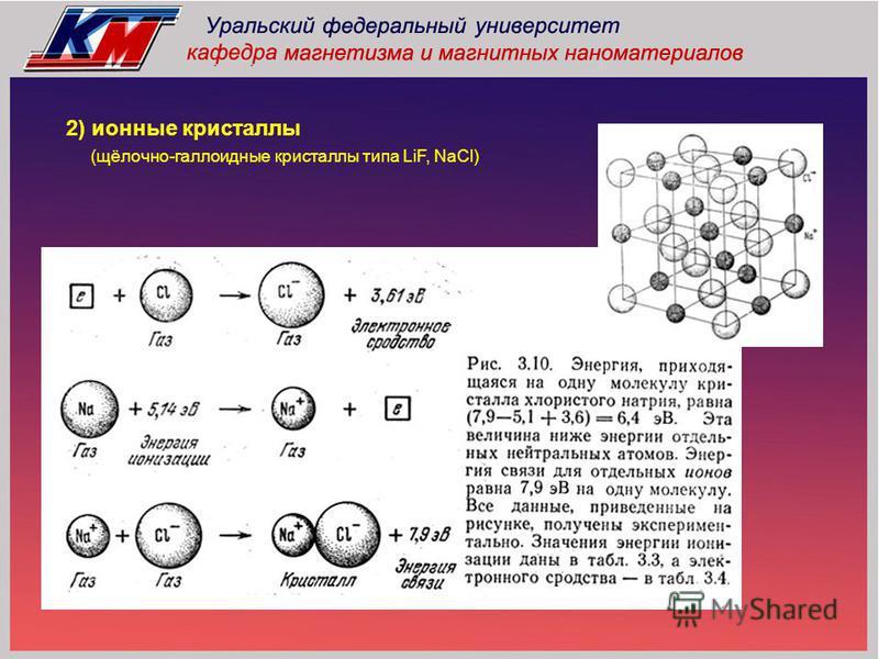2) ионные кристаллы (щёлочно-галоидные кристаллы типа LiF, NaCl)
