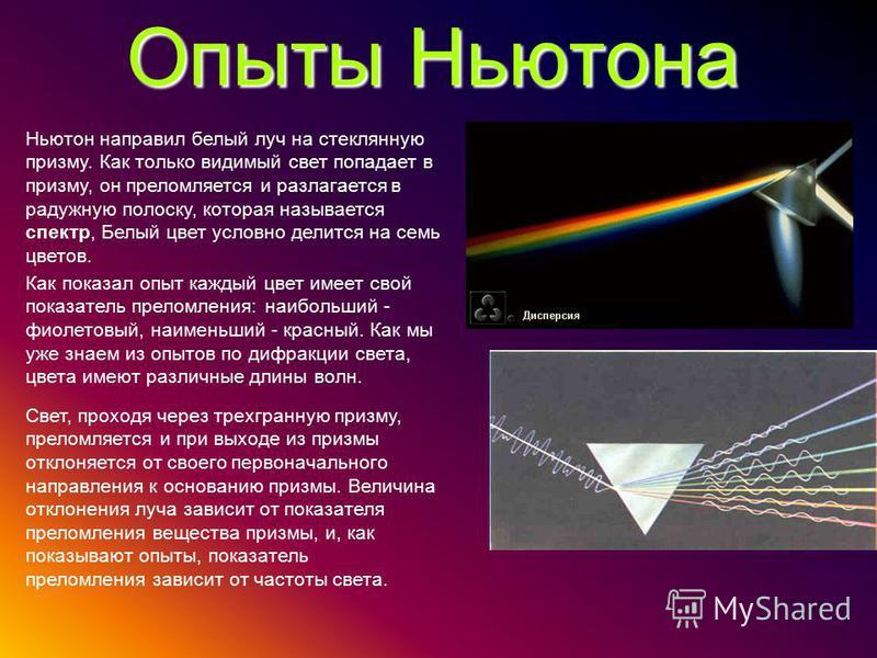 Опыты Ньютона Ньютон направил белый луч на стеклянную призму. Как только видимый свет попадает в призму, он преломляется и разлагается в радужную полоску, которая называется спектр, Белый цвет условно делится на семь цветов. Как показал опыт каждый ц