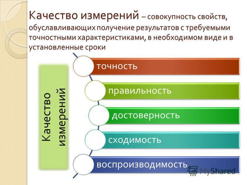 Качество измерений – совокупность свойств, обуславливающих получение результатов с требуемыми точностными характеристиками, в необходимом виде и в установленные сроки точность правильность достоверность сходимость воспроизводимость