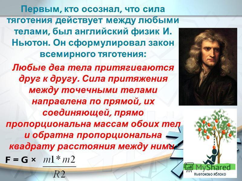Первым, кто осознал, что сила тяготения действует между любыми телами, был английский физик И. Ньютон. Он сформулировал закон всемирного тяготения : Любые два тела притягиваются друг к другу. Сила притяжения между точечными телами направлена по прямо