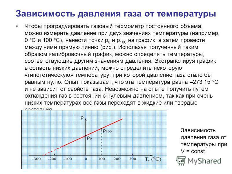 Зависимость давления газа от температуры Чтобы проградуировать газовый термометр постоянного объема, можно измерить давление при двух значениях температуры (например, 0 °C и 100 °C), нанести точки p 0 и p 100 на график, а затем провести между ними пр