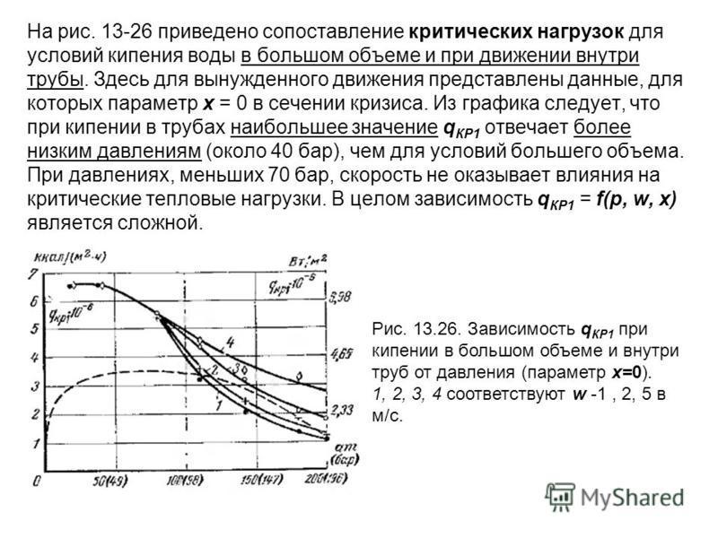 На рис. 13-26 приведено сопоставление критических нагрузок для условий кипения воды в большом объеме и при движении внутри трубы. Здесь для вынужденного движения представлены данные, для которых параметр х = 0 в сечении кризиса. Из графика следует, ч
