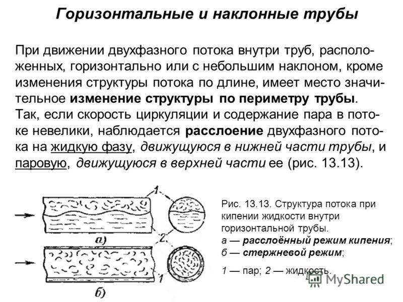 Горизонтальные и наклонные трубы При движении двухфазного потока внутри труб, располо- женных, горизонтально или с небольшим наклоном, кроме изменения структуры потока по длине, имеет место значи- тельное изменение структуры по периметру трубы. Так,