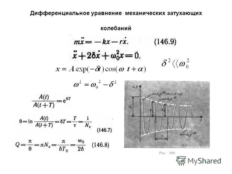 Дифференциальное уравнение механических затухающих колебаний