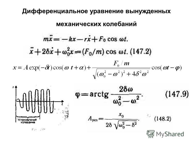 Дифференциальное уравнение вынужденных механических колебаний