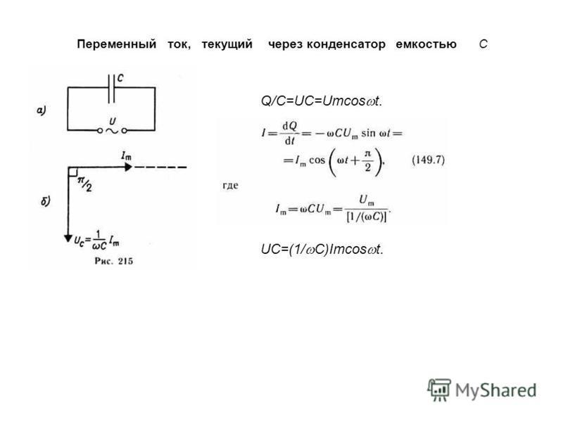 Переменный ток, текущий через конденсатор емкостью С Q/C=UC=Umcos t. UC=(1/ C)Imcos t.