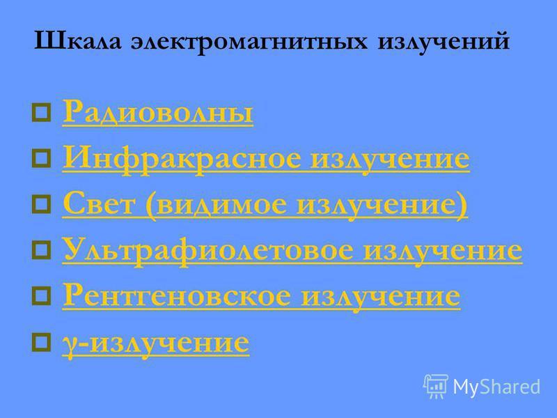 Радиоволны Инфракрасное излучение Свет (видимое излучение) Ультрафиолетовое излучение Рентгеновское излучение γ-излучение Шкала электромагнитных излучений