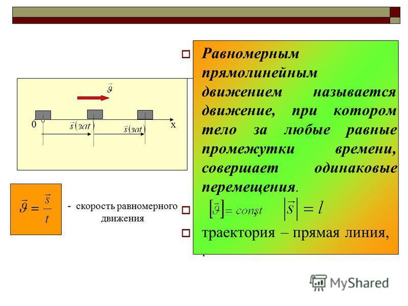 Равномерным прямолинейным движением называется движение, при котором тело за любые равные промежутки времени, совершает одинаковые перемещения., траектория – прямая линия,. 0 х - скорость равномерного движения